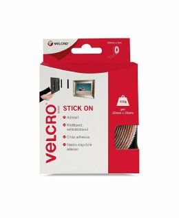White VELCRO Brand Stick On Super Strong Adhesive Hook & Loop Tape - 20mm x 5m